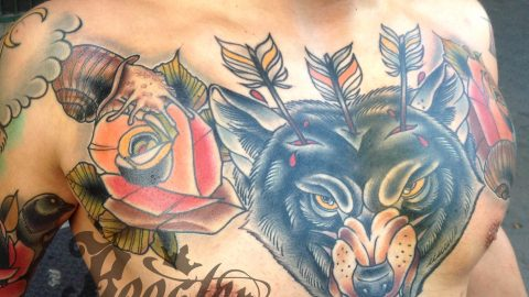 wolf chest tattoo by marek rooster
